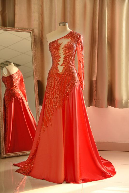 Chic One-Shoulder Red Sequined Prom Dress | One-Sleeve Sexy Party Dress