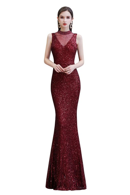 Gorgeous Burgundy Sequins Long Mermaid Prom Dress