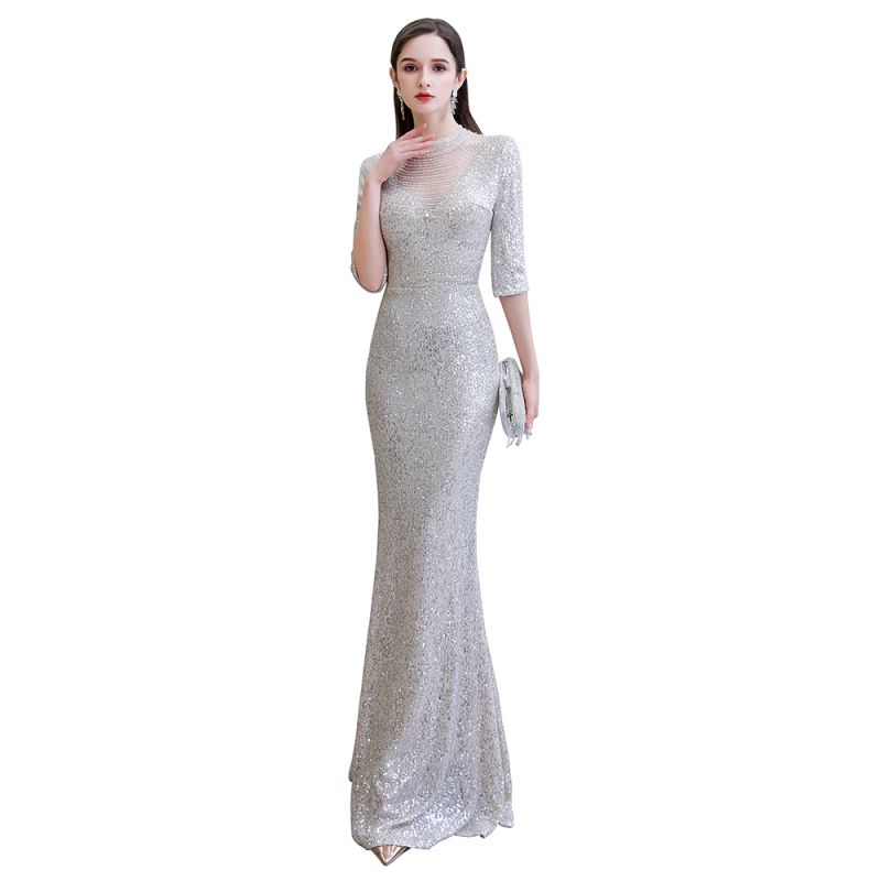 Silver Half Sleeve Sequins Prom Dress | Mermaid Long Evening Gowns