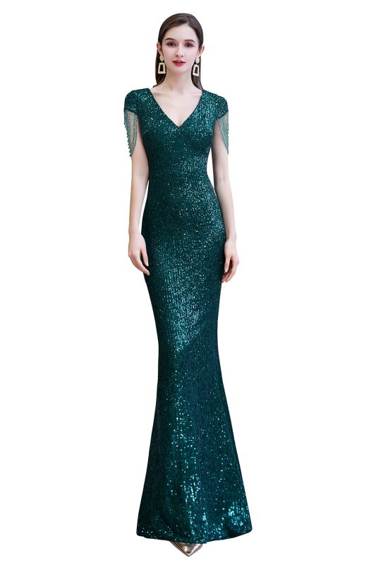 Elegant Cap Sleeve Green Prom Dress | Sequins Long Evening Gowns