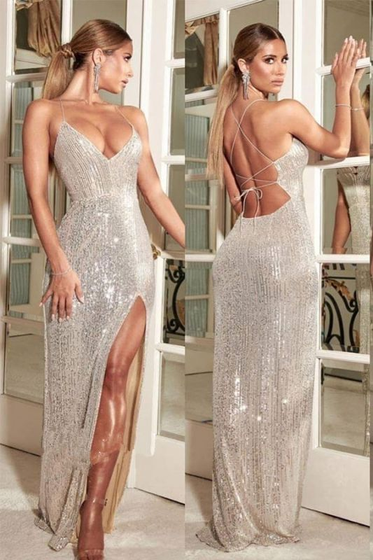 Sexy Open Back Sequins Evening Gowns | Spaghetti Straps Side Slit Cheap Prom Dresses
