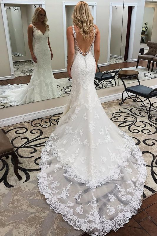 V-neck Backless Sheath Sleeveless Ivory Alluring Appliques Chapel-Train Wedding Dresses