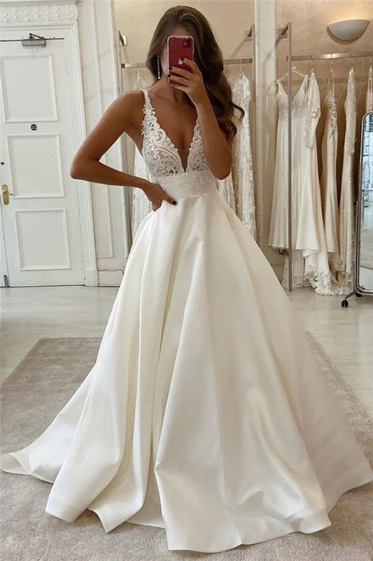 V-neck Spaghetti Straps Lace Bridal Gowns | A-line Sleeveless Elegant Wedding Dresses