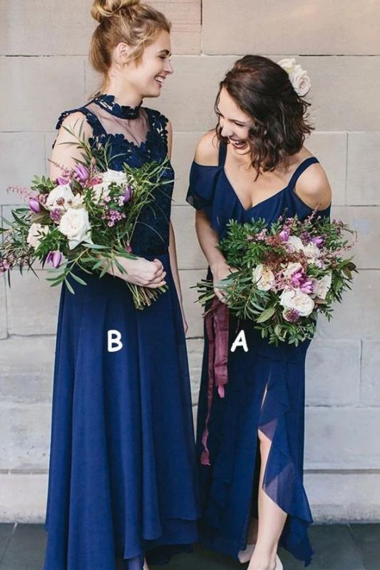 Spaghetti-Straps High-Neck Glorious Royal-Blue V-neck Cold-Shoulder Bridesmaid Dresses