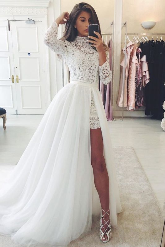 Sexy Slit Lace Short Wedding Dresses with Sleeves | Cheap High Neck Tulle Overskirt Bridal Gowns