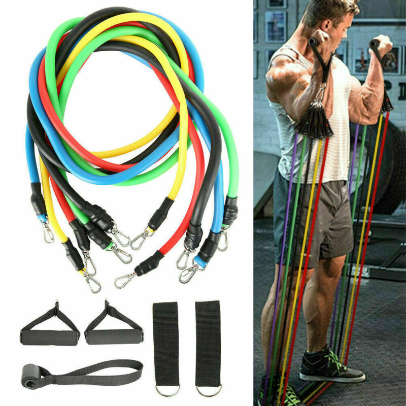 11 Pcs Per Set 100 lbf Combination Pull Rope Gym Fitness Resistance Bands Muscle Building Sport Equipments Yoga Elastic Band