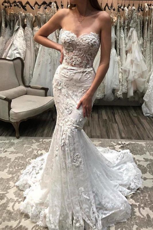Sweetheart Mermaid Sexy Lace Appliques Beach Wedding Dresses for Bride