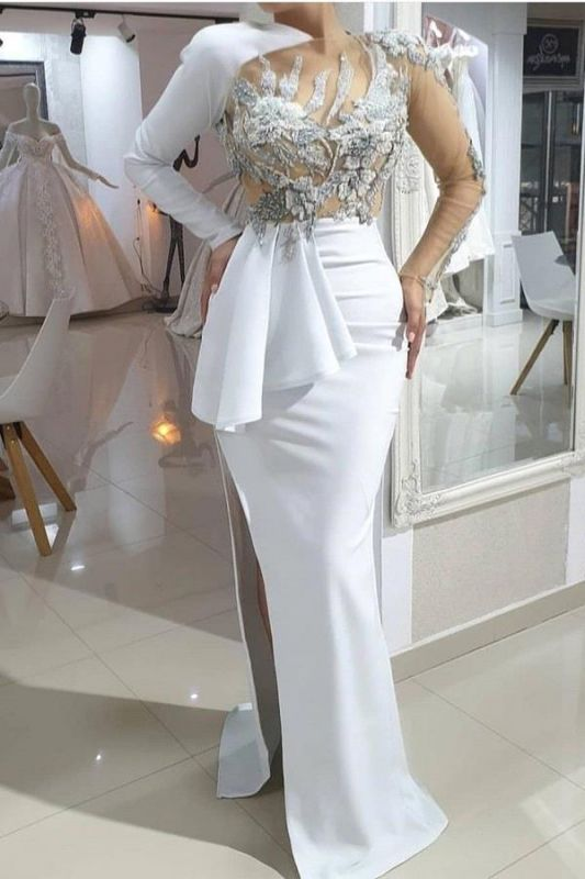 Stylish Asymmetrical Mermaid Long Sleeves Wedding Dress Sexy Lace Bridal Gowns with Beadings