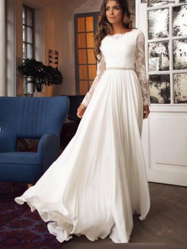 Gorgeous A-Line Wedding Dress Chiffon Long Sleeves Ruffles Bridal Gowns with Sash
