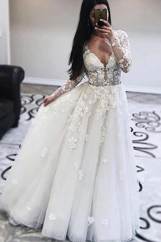 Gorgeous A-Line Tulle Appliques Wedding Dress V-Neck Long Sleeves Ruffles Bridal Gowns On Sale