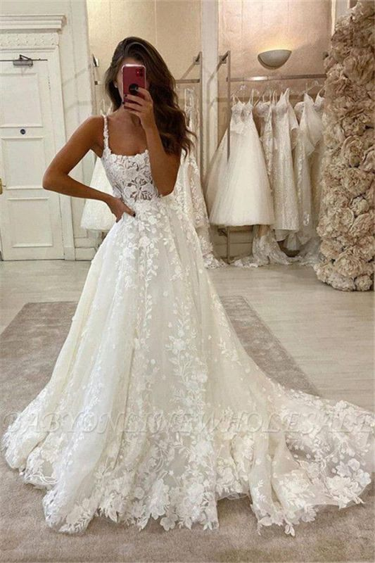 Elegant A-Line Straps Tulle Wedding Dress Lace Sleeveless Bridal Gowns with Train