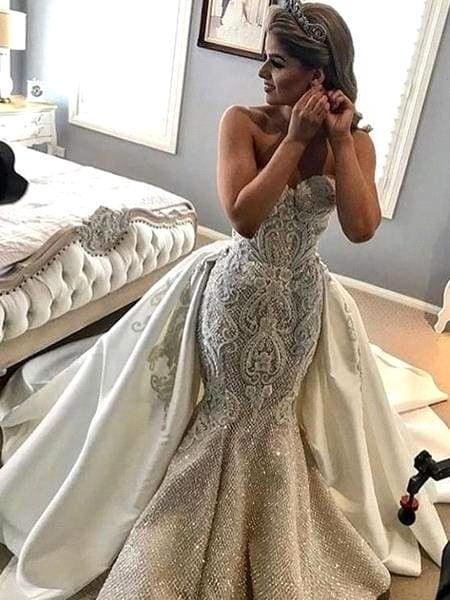 Gorgeous Strapless Mermaid Wedding Dress Sweetheart Tulle Lace Overskirt Bridal Gowns with Beadings