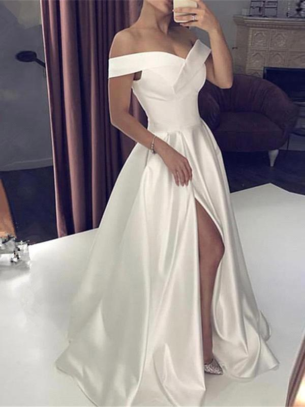 Sexy A-Line Satin Wedding Dress Off-Shoulder Sleeveless Slit Bridal Gowns Online