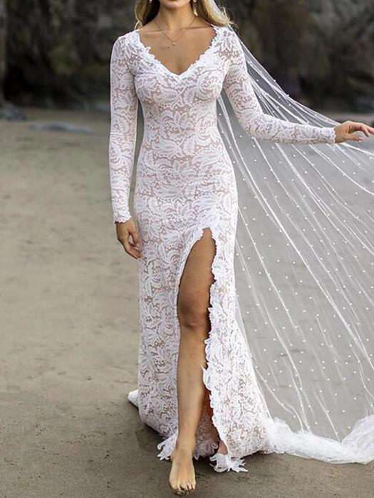 Stylish V-Neck Lace Wedding Dress Beadings Long Sleeves Front Slit Bridal Gowns with Train