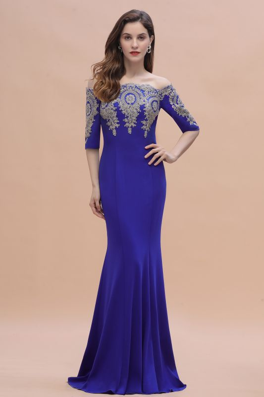Mermaid Off-Shoulder Chiffon Lace Half Sleeve Evening Dress in Stock