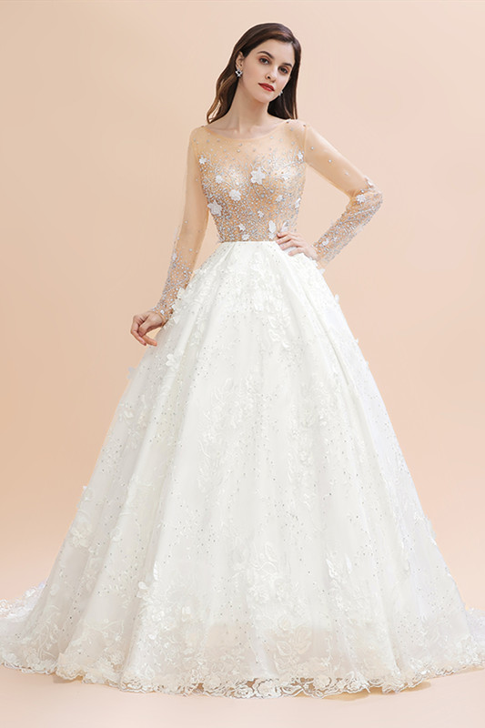 Luxury Ball Gown Tulle Lace Wedding Dress | Long Sleeves Appliques Pearls Bridal Gowns with Flowers