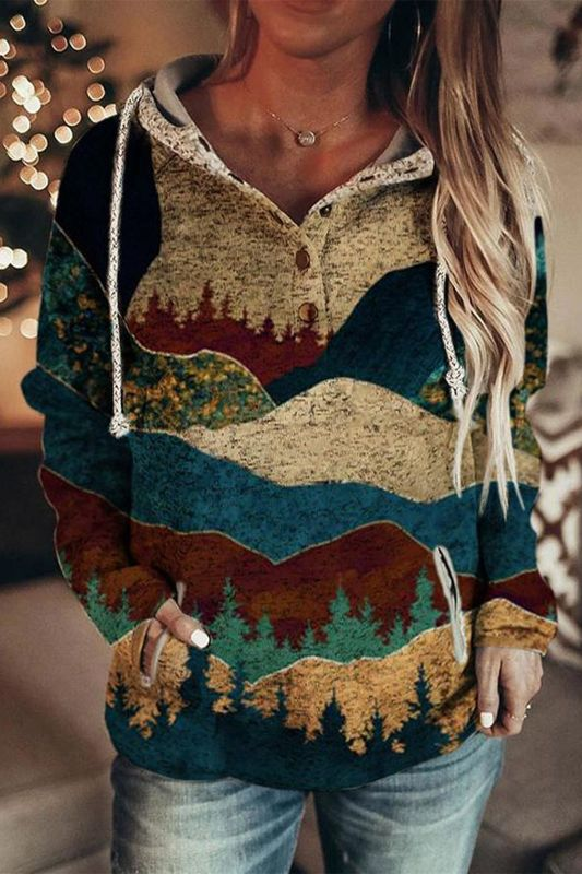 Women's Autumn And Winter Mountain Print Casual Hoodie Sweatshirt