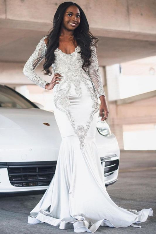 Party White Jewel Appliques Prom Dresses With Long Sleeves