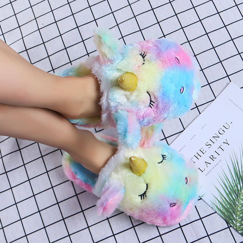 Unicorn Pattern Colorblock Fluffy Slippers On Sale