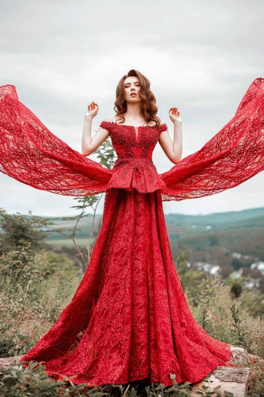 Glamorous Red Lace Off-Shoulder Beadings Prom Dress with Ruffles On Sale