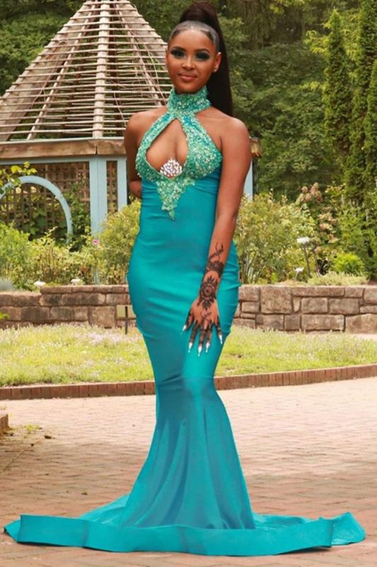 Sexy Halter Turquoise Mermaid Prom Dresses With Sequins