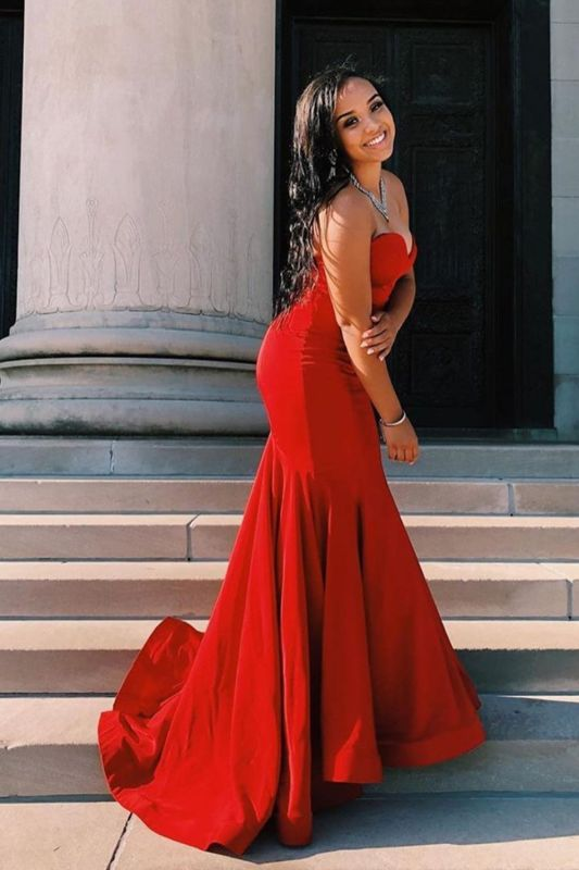 Sexy Sweetheart Ruby Mermaid Prom Dresses With Ruffles