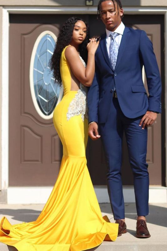 Gorgeous Sleeveless Daffodil Mermaid Prom Dresses With Appliques
