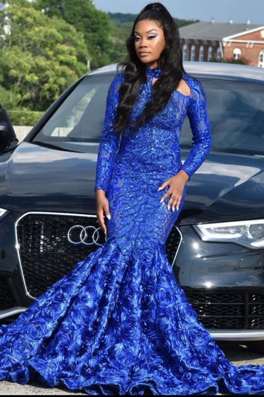 Graceful Royal Blue Sequins Mermaid Evening Gowns With Long Sleeves
