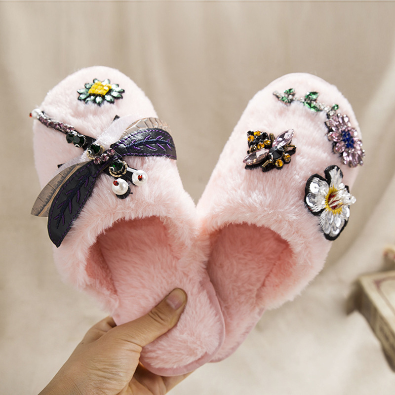 Floral Pattern Rhinestone Fluffy Slippers On Sale