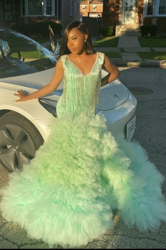 Stunning Lime Green Satin Mermaid Prom Dresses With Fur Tassel
