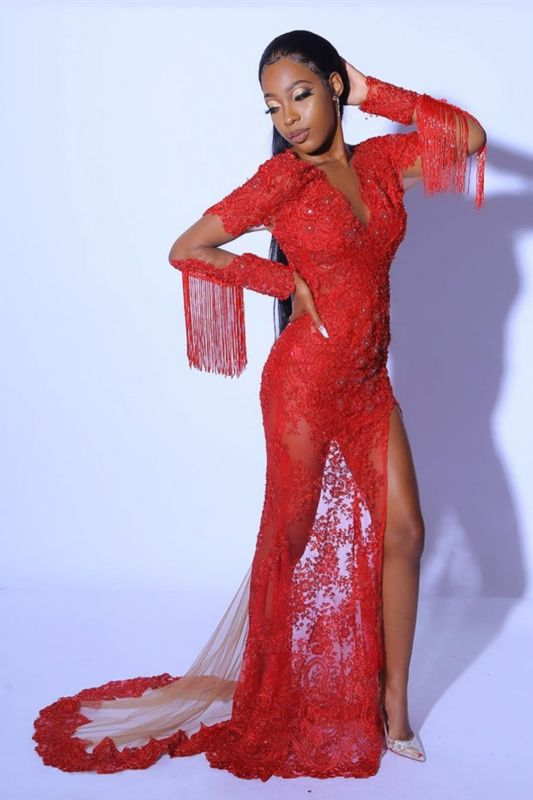 Glamorous Ruby Split Tassel Prom Dresses With Long Lace Sleeves