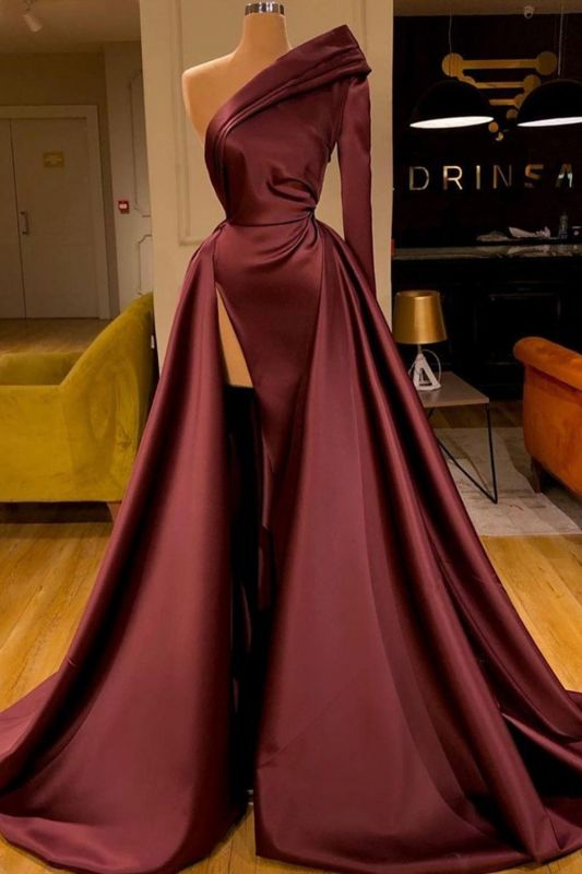 Gorgeous One Shoulder Burgundy Red Ruffles Prom Dress Long