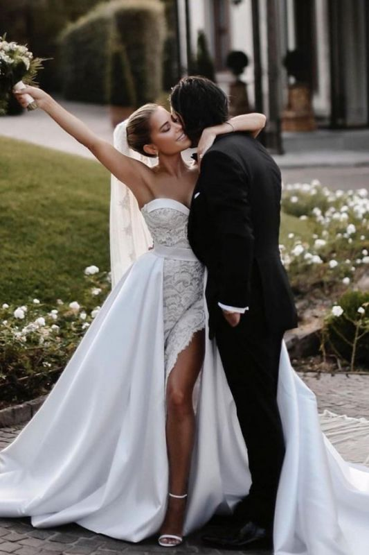 Sexy Satin Lace Sweetheart Wedding Dress with Overskirt On Sale