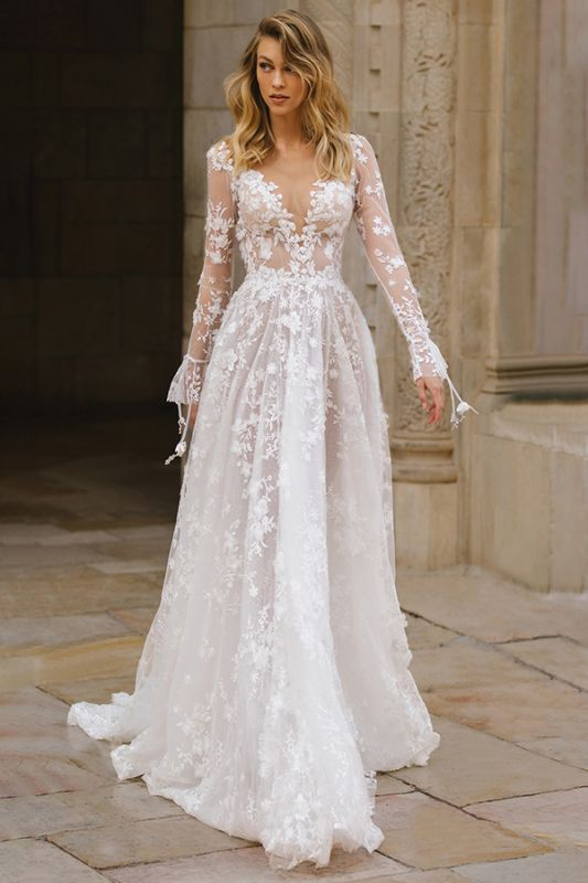 Gauzy Long Sleeves Tulle V Neck Wedding Dresses With Lace Appliques