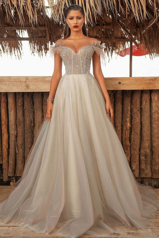 Luxury Off The Shoulder Tulle Silver Prom Dresses Beading Sequins A-Line Evening Dresses