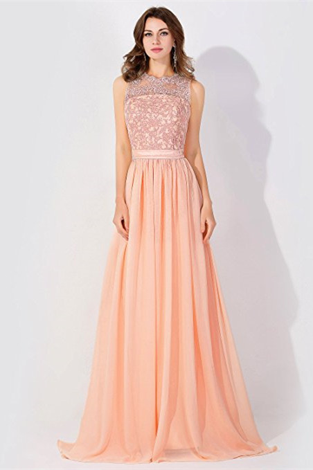 A-line Chiffon Tulle Lace Ruffles Bridesmaid Dress On Sale