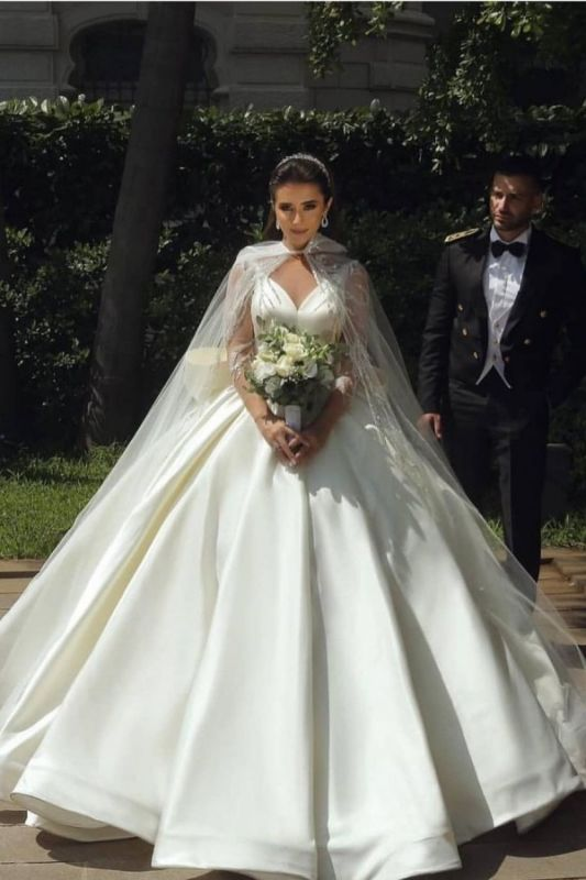 Ball Gown Satin Long Sleeves Lace Wedding Dress with Bow On Sale