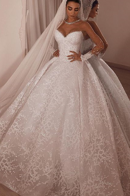 Luxury Ball Gown Tulle Lace Long Sleeves Wedding Dress with Beadings On Sale
