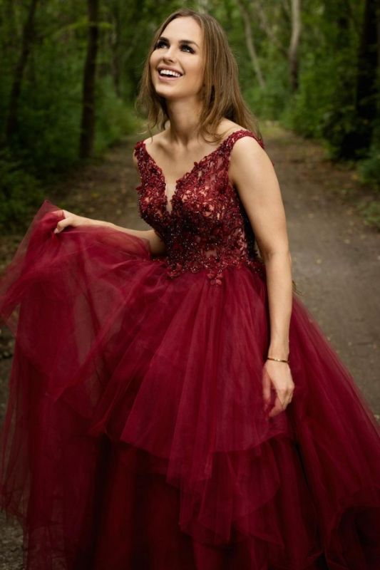 Elegant V-neck Burgundy Tulle Lace Prom Dress On Sale