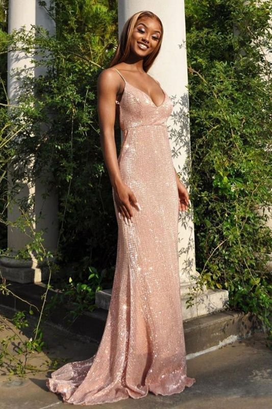 Glittery V Neck Nude Pink Satin Sequins Prom Dresses With Spaghetti Straps