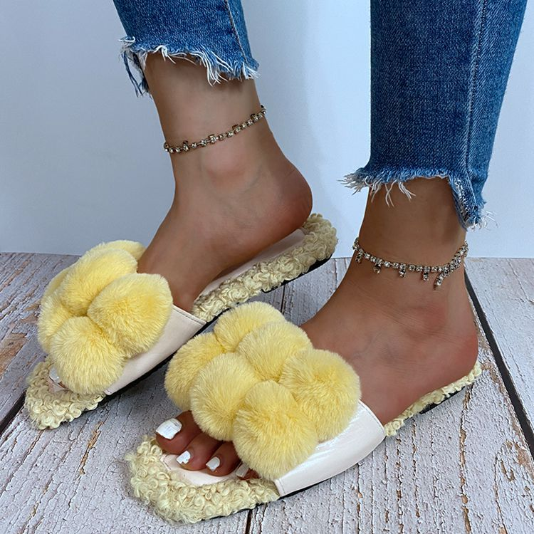 Villus Fluffy Casual Flat Sandals On Sale