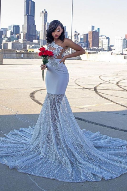 Glamorous One Shoulder Sequins Mist Blue Mermaid Prom Dresses With Appliques