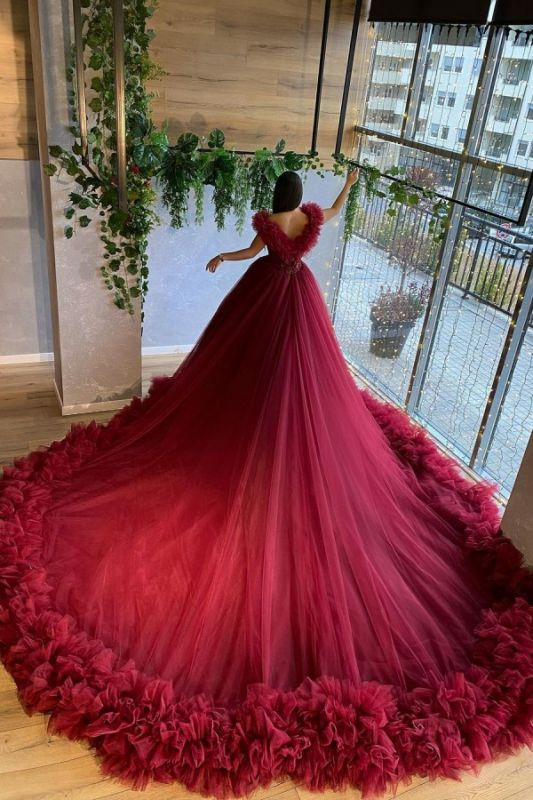 Royal Tulle Lace Ruby Backless A-Line Cathedral Wedding Dresses