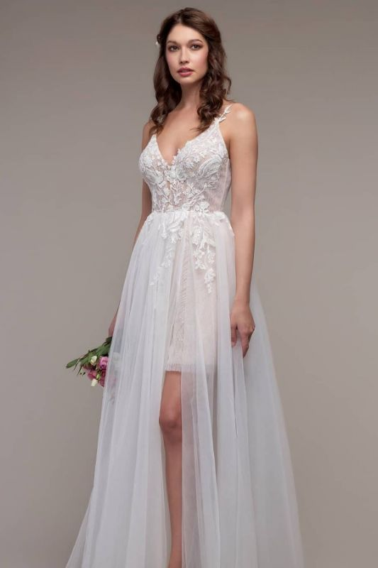 Simple Spaghetti Straps Tulle Lace Wedding Dress On Sale