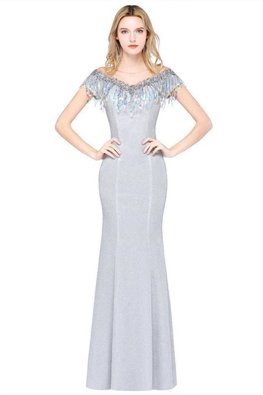 Elegant Jewel Short Sleeves Sequins Evening Dress with Tassels in Stock