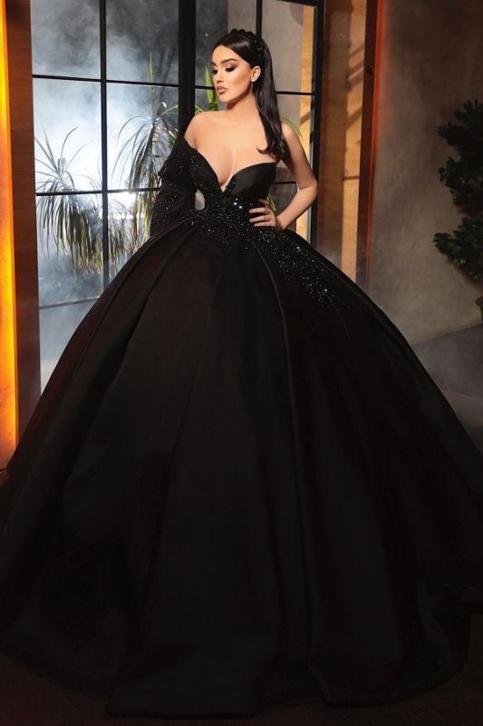 Alluring Ball Gown One-Sleeve Black Taffeta Lace Prom Dress Online