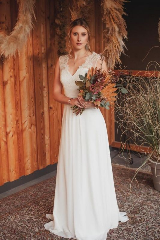 Simple A-Line Lace Chiffon Wedding Dress Online