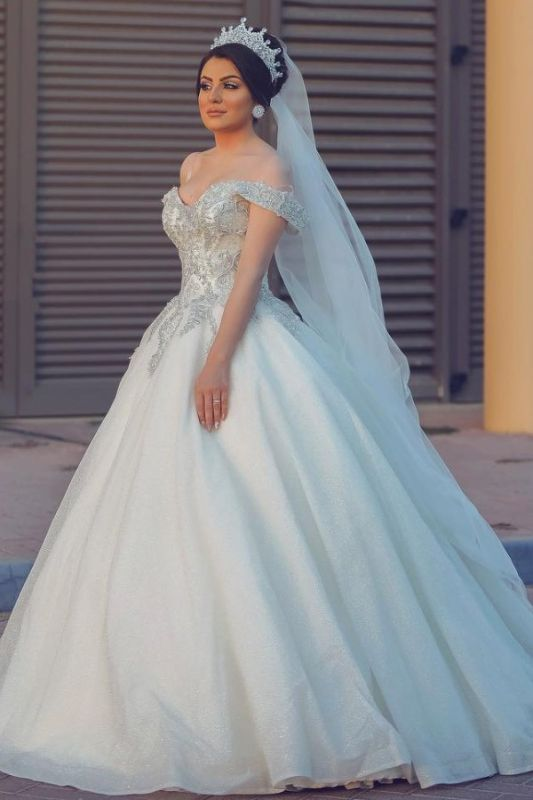 Ball Gown Off-Shoulder Tulle Lace Wedding Dress Online