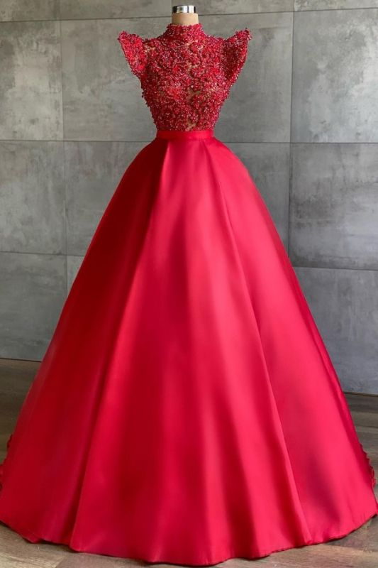 Chic High-Neck Lace Satin Prom Dress with Pearls Online