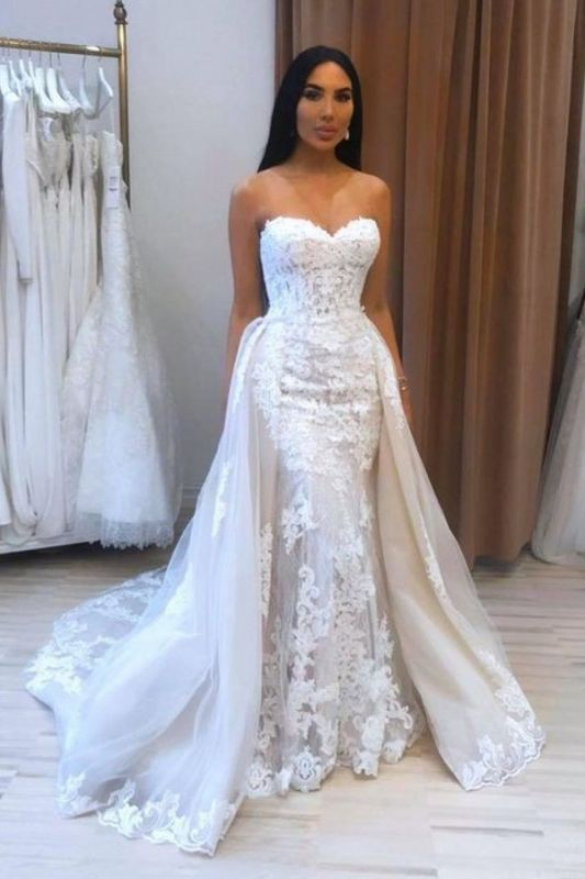 A-Line Sweetheart Tulle Lace Wedding Dress On Sale
